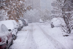 Parked cars covered with snow - snow storm Royalty Free Stock Photos