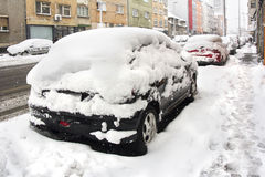 Parked Cars covered with snow Royalty Free Stock Photos