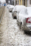 Parked Cars covered with snow Royalty Free Stock Images