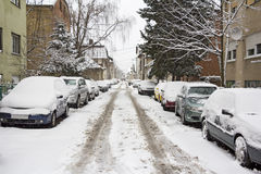 Parked Cars covered with snow Stock Photography