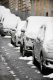 Parked cars covered with snow Royalty Free Stock Photography