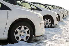 Parked Cars on a Lot. Row of New Cars on the Car Dealer Parking. Lot. Cars for Sale Market Theme Stock Photo