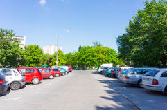 Parked cars parking lot Royalty Free Stock Images