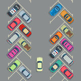 Parked cars on the parking top view, Vector urban transport concept Royalty Free Stock Photo