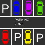 Parked cars in a parking zone over dark asphalt background. stoc. K vector illustration, eps 10 Royalty Free Stock Photography