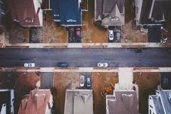 Parked cars in a residential neighborhood royalty free stock image