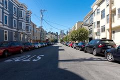 Parked cars on the San Francisco streets Stock Photography