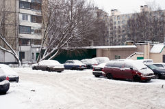 Parked cars in snow Stock Image