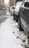 Parked cars in snow storm Royalty Free Stock Photography