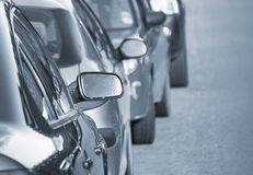Parked cars in street Royalty Free Stock Images