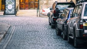 Parked cars on street Stock Photo