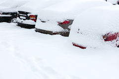 Parked cars under snow Stock Photos