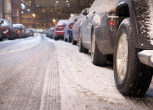Parked cars in winter Royalty Free Stock Photos
