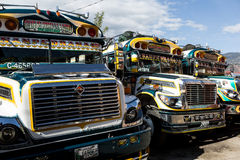 parked chicken buses in Guatemala Royalty Free Stock Photos