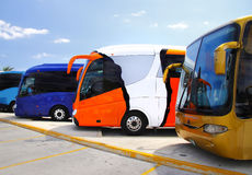 Parked coaches. In this travel and tourism concept stock photography