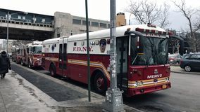 Parked Fire department Major Response Emergency Vehicle. BRONX, NEW YORK - MARCH 25: Parked Fire Department Major Emergency Respons Vehicle. Taken March 25, 2017 stock images