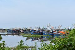 Parked fishing boats, Kerala, Boats. Parked fishing boats in Ponnani, Kerala state of India stock photography