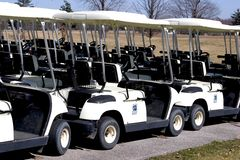 Parked Golf Carts - Rear Stock Photo