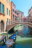 A parked gondola in Venice,Italy. Summer in Venic Stock Photography