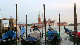 Parked gondolas sway on the waves in Venice stock video footage