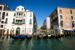 Parked gondolas in Venice Stock Image