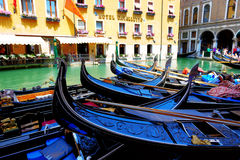 The parked gondolas are on water channel Royalty Free Stock Photography
