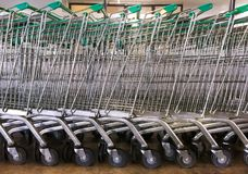 Parked Green Shopping Trolleys Stock Photography