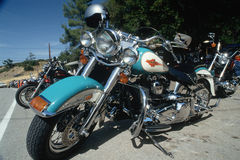 Parked Harley Davidson motorcycles Royalty Free Stock Image