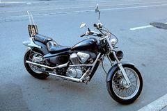 Free Parked In The Street Shiny Motorcycle Stock Photography - 123586532