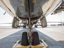 Parked Jet Airliner. Belly view wide angle commercial airliner stock photos
