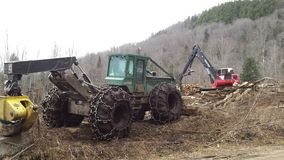 Parked log skidder and loader Royalty Free Stock Photography