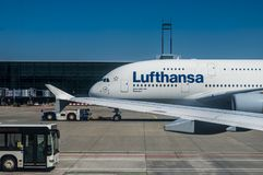 A parked Lufthansa Airbus A380 Stock Photo