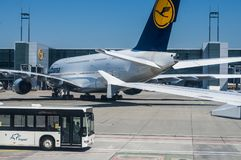 A parked Lufthansa Airbus A380 Stock Images