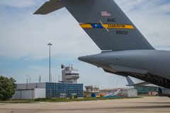 Parked military cargo aircraft royalty free stock photos