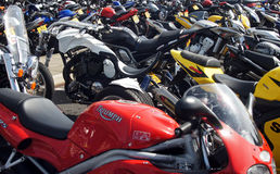 Parked motorbikes in a festival Royalty Free Stock Photo