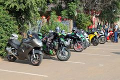 Parked motorbikes at Yearly Mass Ride Royalty Free Stock Photography