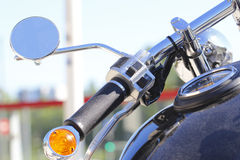 Parked motorcycle. In sunny day Royalty Free Stock Image
