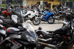Parked motorcycles Stock Photo