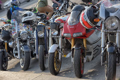 Parked motorcycles Royalty Free Stock Photo