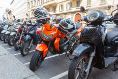 Parked motorcycles Royalty Free Stock Images