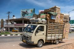 Parked and overloaded ACF delivery truck in Mysore, India. Stock Photos
