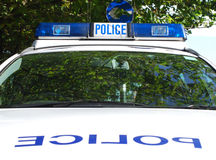 Parked police car Stock Image