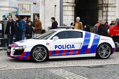 Parked police car on a city street in Lisbon, Portugal, Europe Stock Images