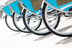 Parked rental bikes royalty free stock image