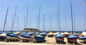 Parked sailboats Stock Image