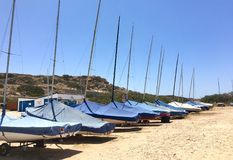 Parked Sailboats Stock Images