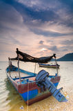 Parked Sampan on a calm sea Stock Image