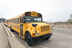 Parked School Buses. Front and side views of parked school buses on city street Stock Image