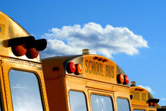 Parked school busses. Back of parked school busses in the parking lot against a sky with clouds royalty free stock photography