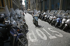 Parked scooters Stock Images